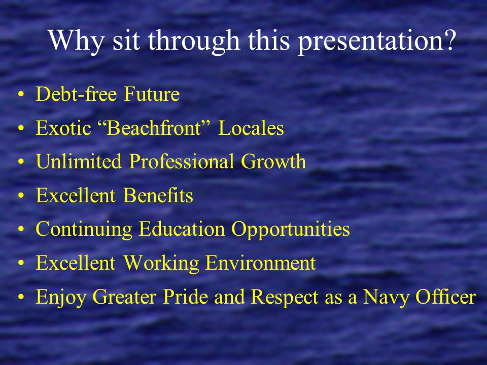 Why sit through this presentation