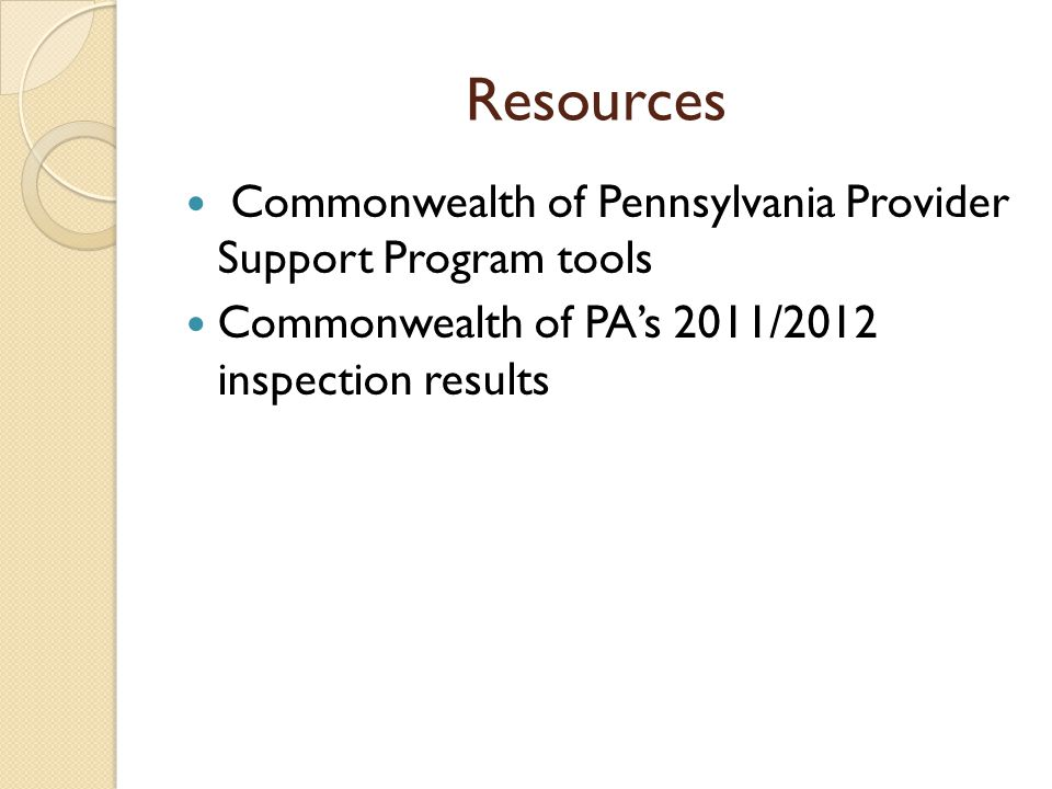 Resources Commonwealth of Pennsylvania Provider Support Program tools