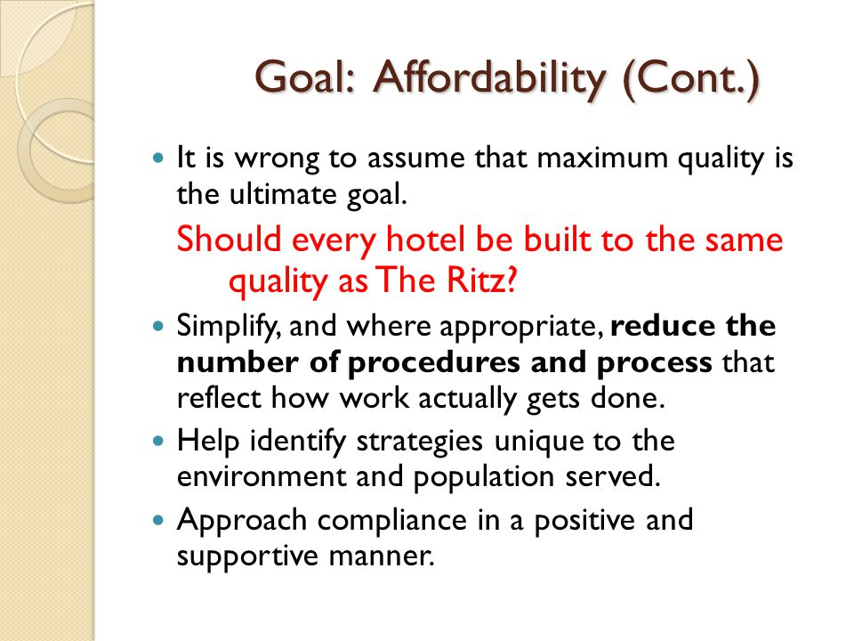 Goal: Affordability (Cont.)