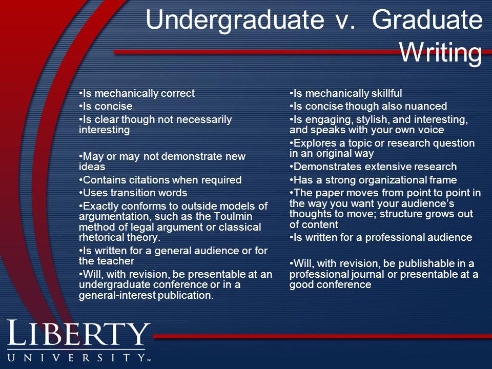 Undergraduate v. Graduate Writing