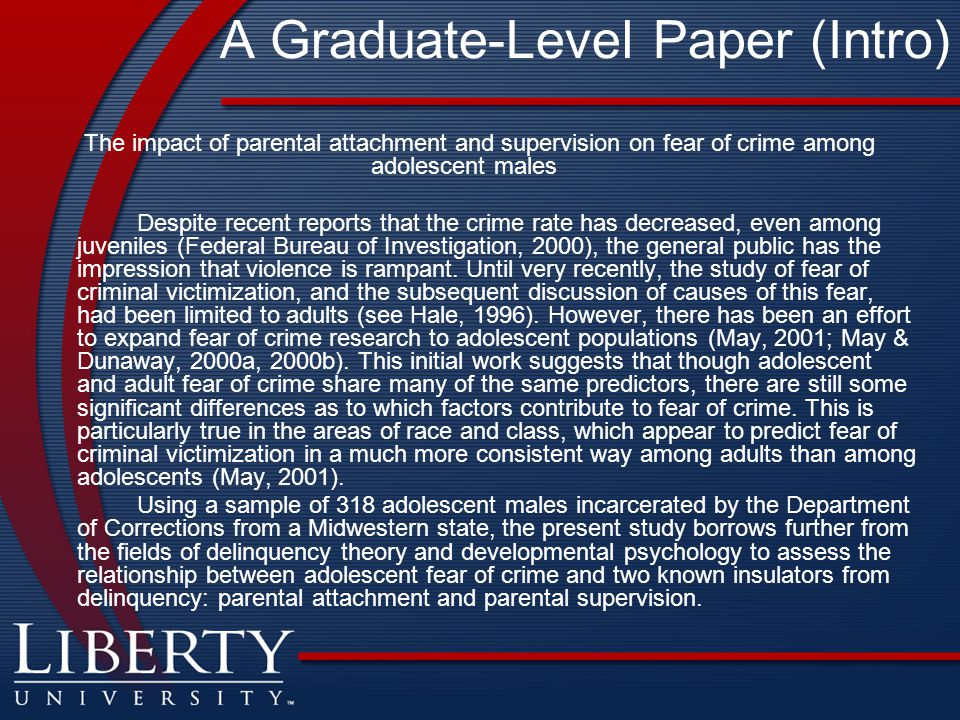 A Graduate-Level Paper (Intro)
