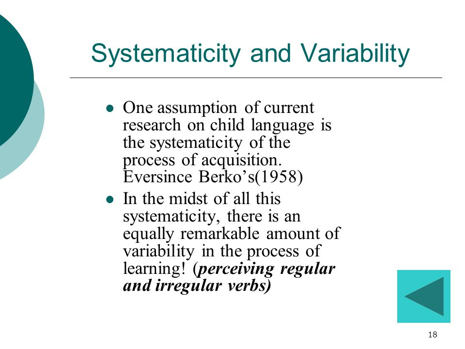 Systematicity and Variability