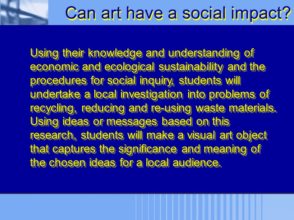 Can art have a social impact