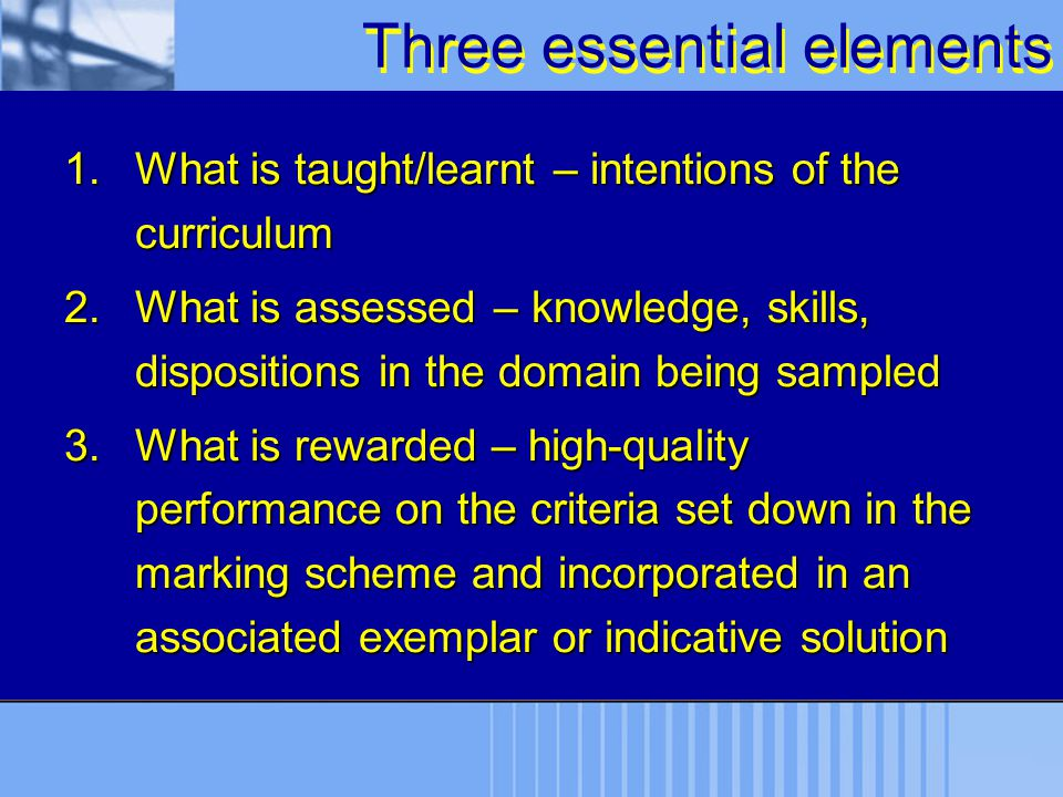 Three essential elements