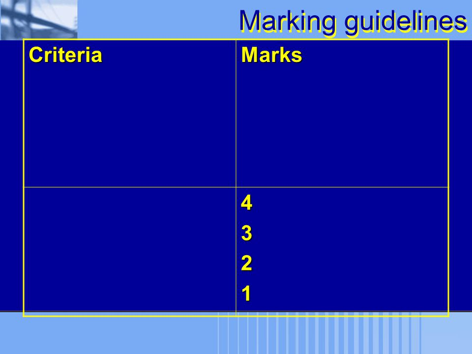 Marking guidelines Criteria Marks 4 3 2 1