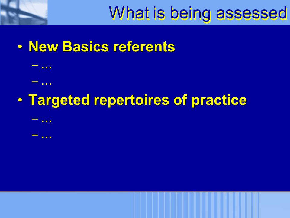 What is being assessed New Basics referents