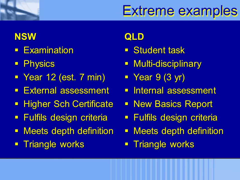 Extreme examples NSW Examination Physics Year 12 (est. 7 min)
