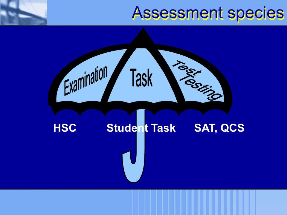 J Assessment species HSC Student Task SAT, QCS Examination Test