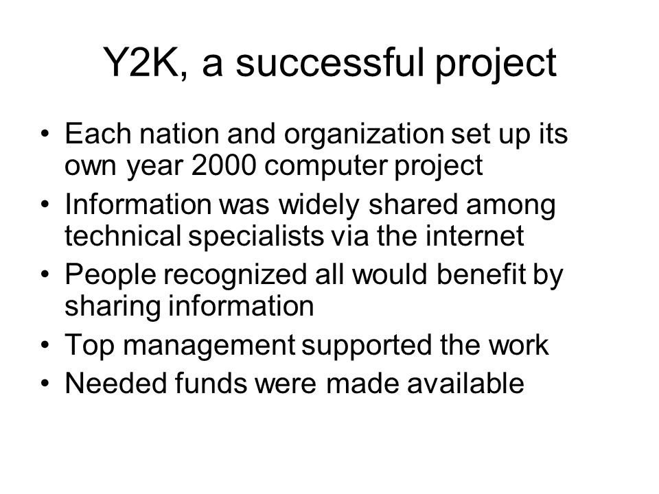 Y2K, a successful project