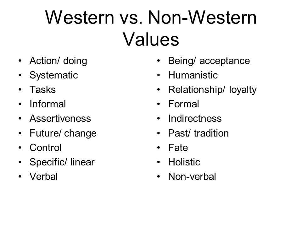 Western vs. Non-Western Values