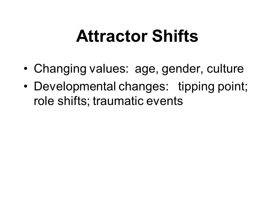 Attractor Shifts Changing values: age, gender, culture