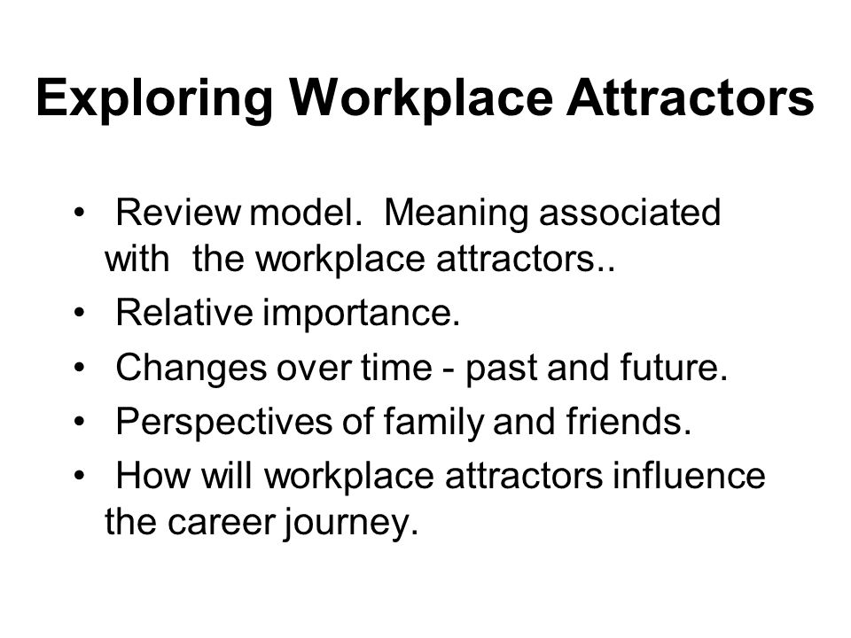 Exploring Workplace Attractors