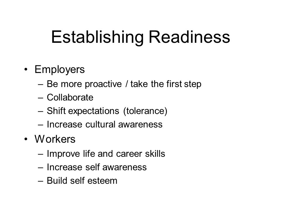 Establishing Readiness