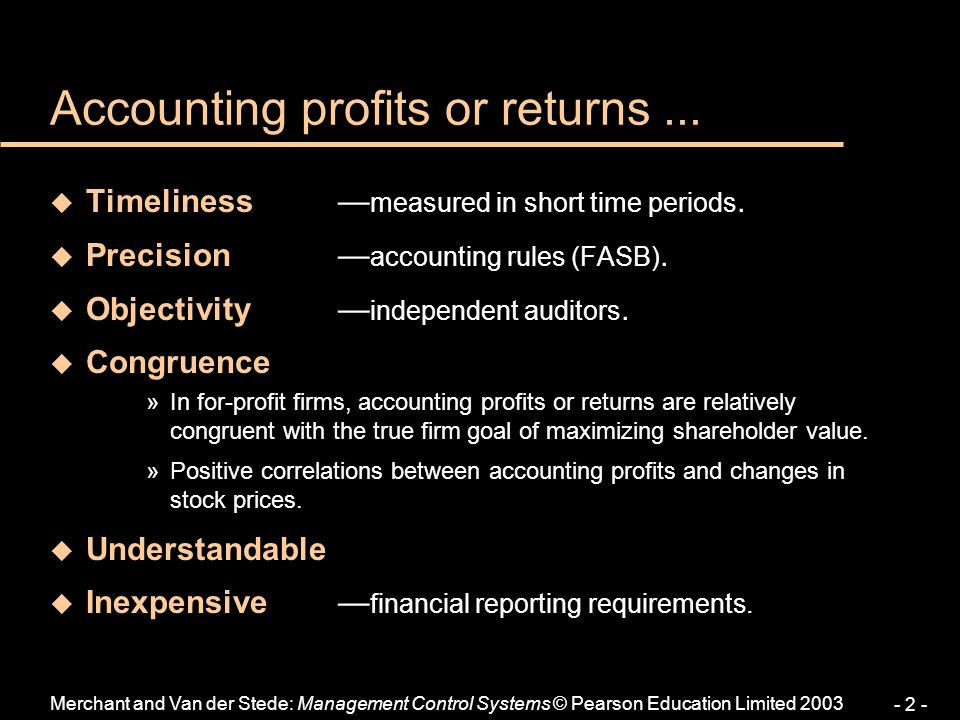 Accounting profits or returns ...