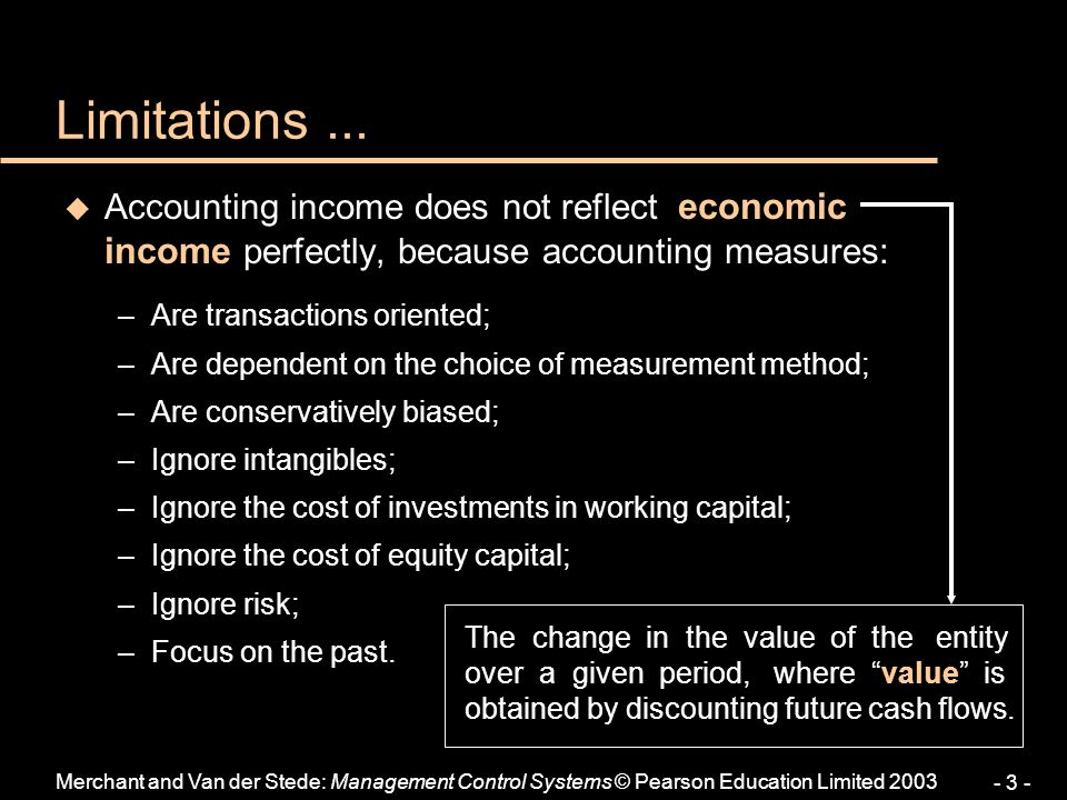 Limitations ... Accounting income does not reflect economic income perfectly, because accounting measures: