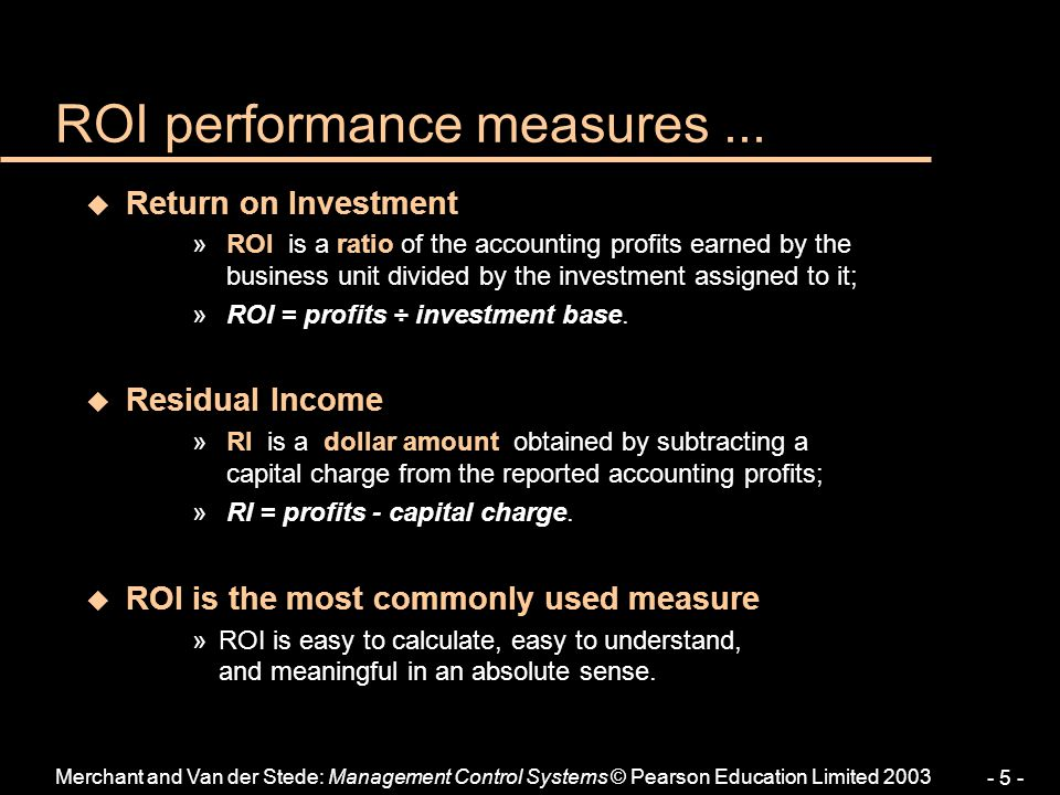 ROI performance measures ...