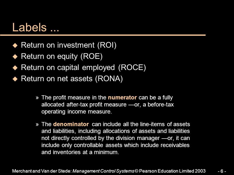 Labels ... Return on investment (ROI) Return on equity (ROE)