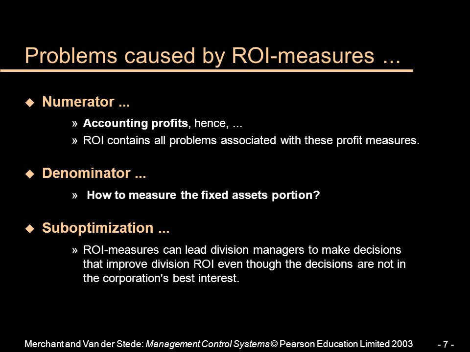 Problems caused by ROI-measures ...