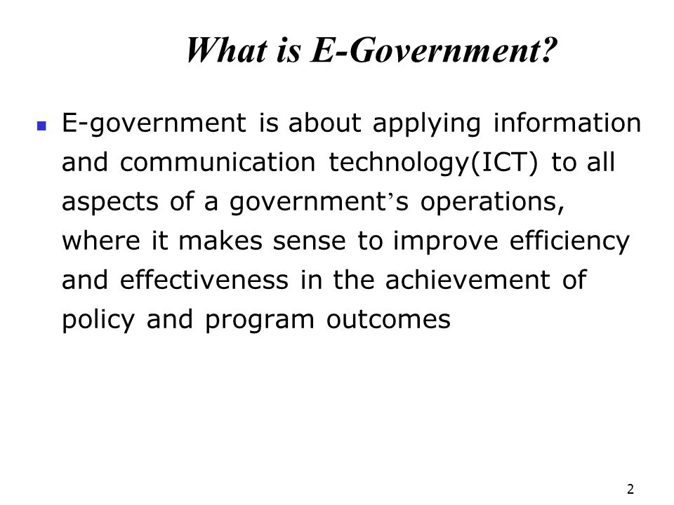 What is E-Government