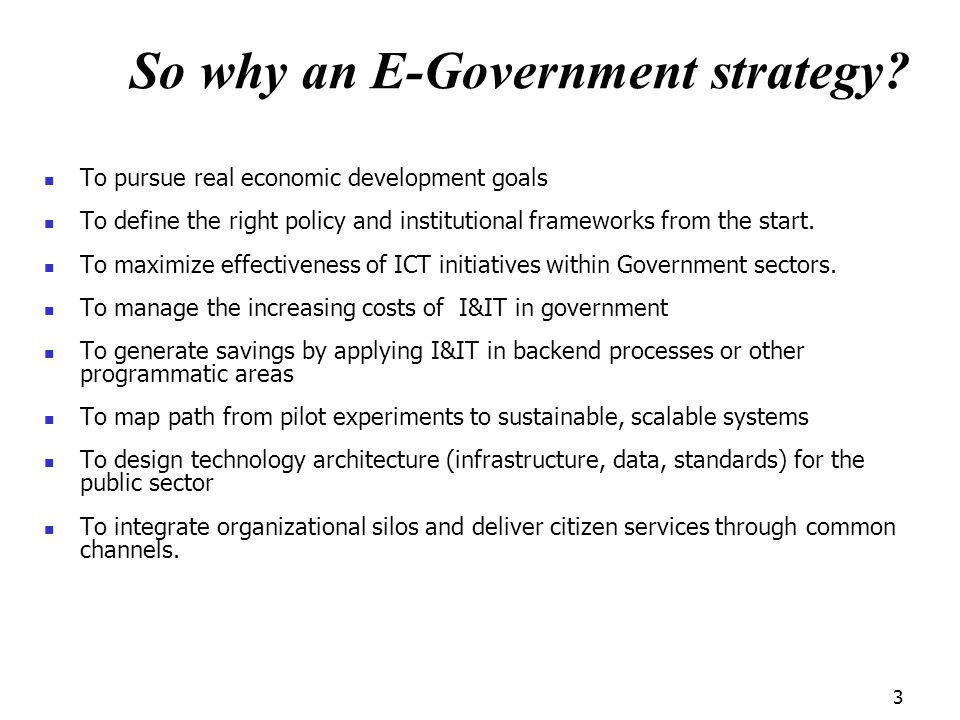 So why an E-Government strategy