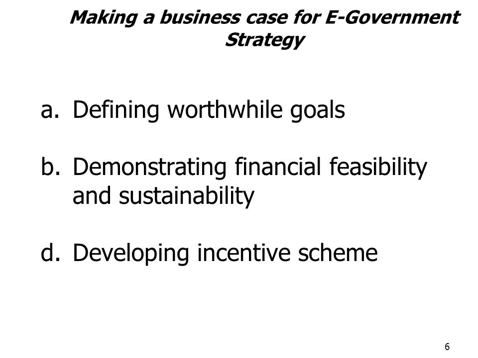 Making a business case for E-Government Strategy