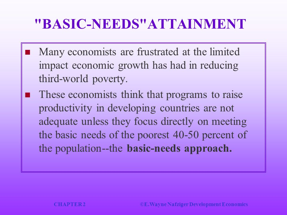 BASIC‑NEEDS ATTAINMENT