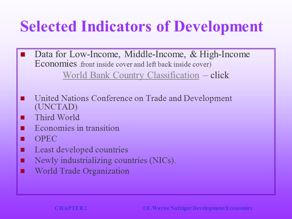Selected Indicators of Development