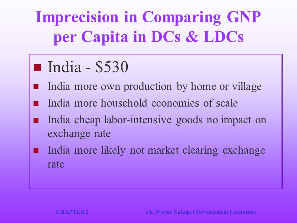 Imprecision in Comparing GNP per Capita in DCs & LDCs
