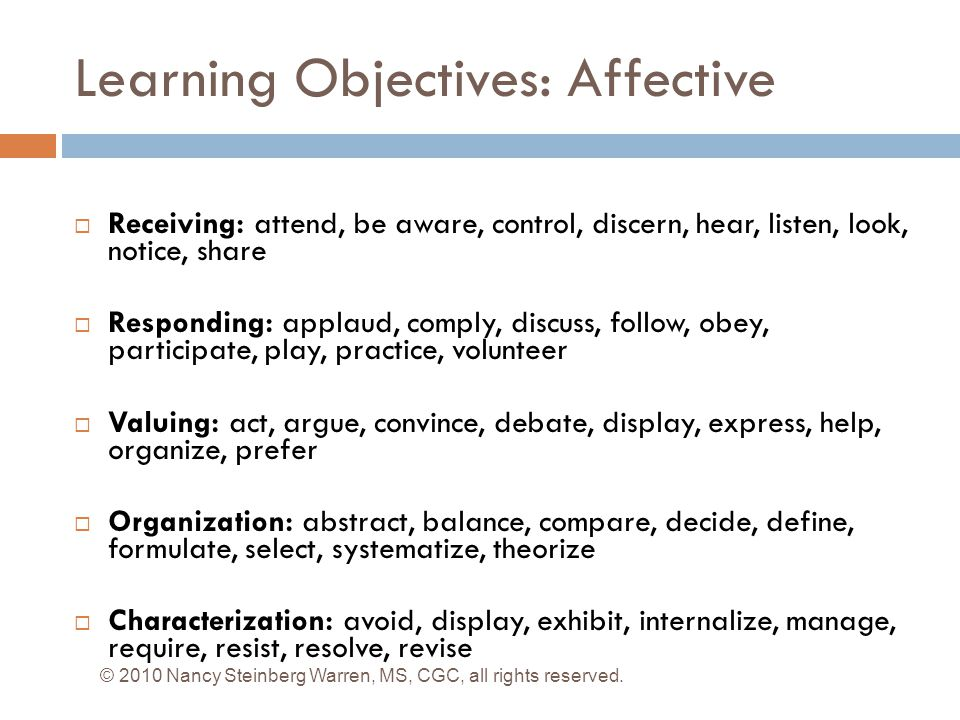 Learning Objectives: Affective