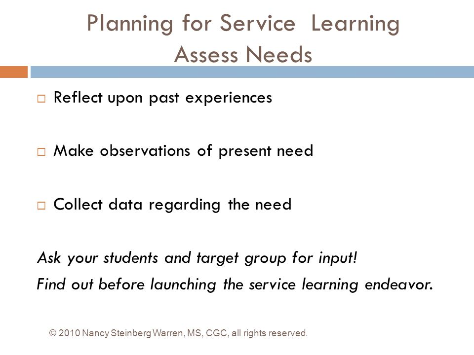 Planning for Service Learning Assess Needs
