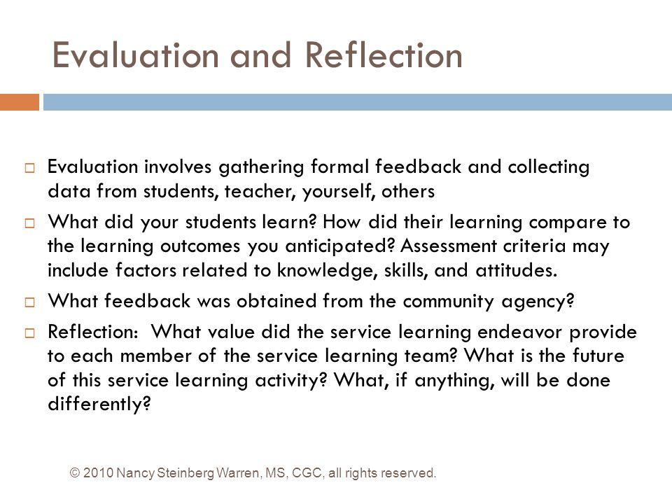 Evaluation and Reflection
