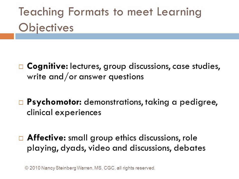 Teaching Formats to meet Learning Objectives