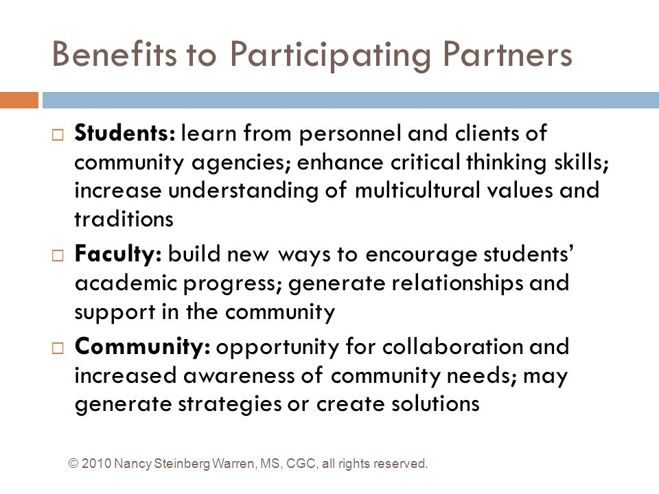 Benefits to Participating Partners
