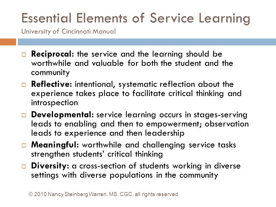 Essential Elements of Service Learning University of Cincinnati Manual