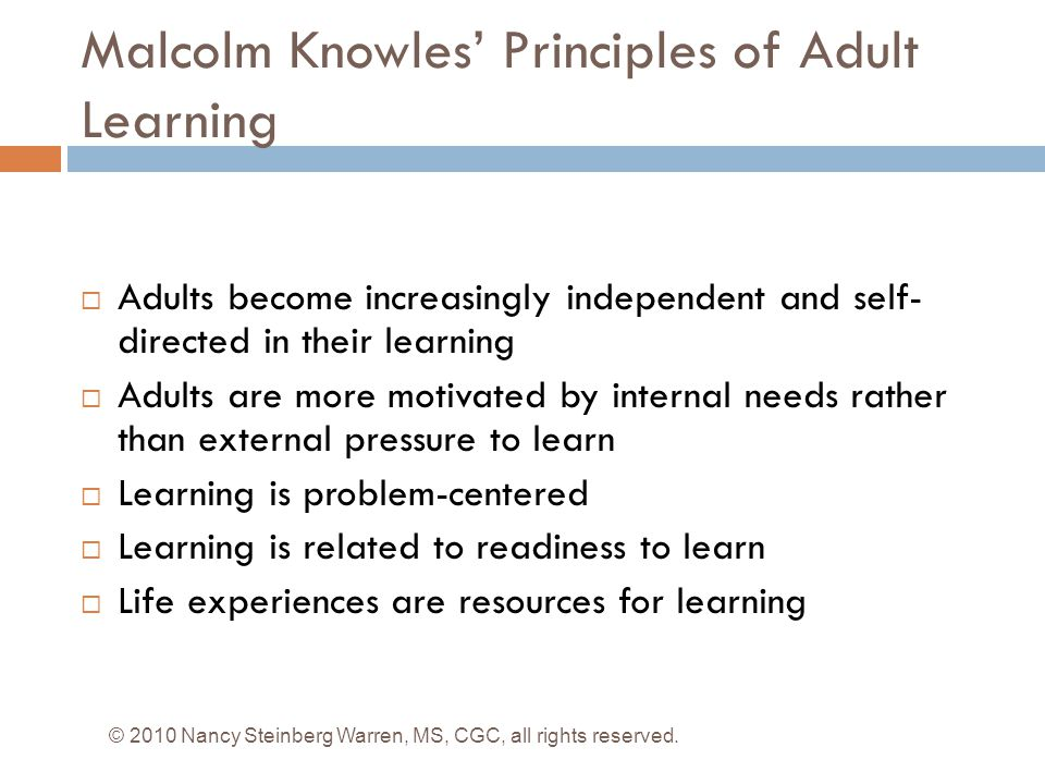 Malcolm Knowles' Principles of Adult Learning