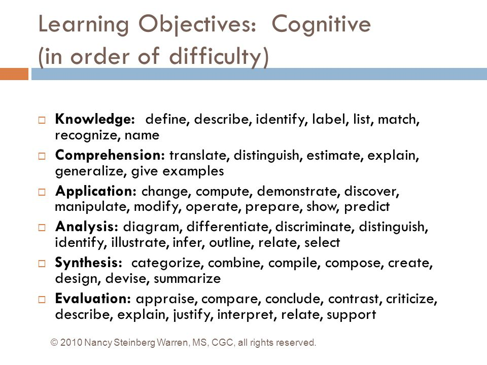 Learning Objectives: Cognitive (in order of difficulty)