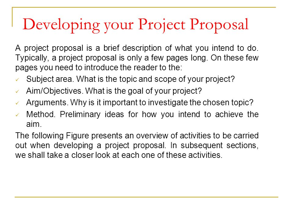 developing your project proposal - Project Proposal