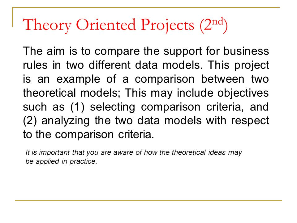 Theory Oriented Projects (2nd)
