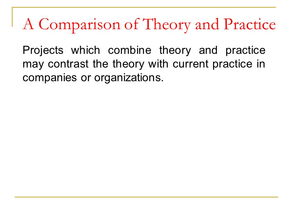 A Comparison of Theory and Practice