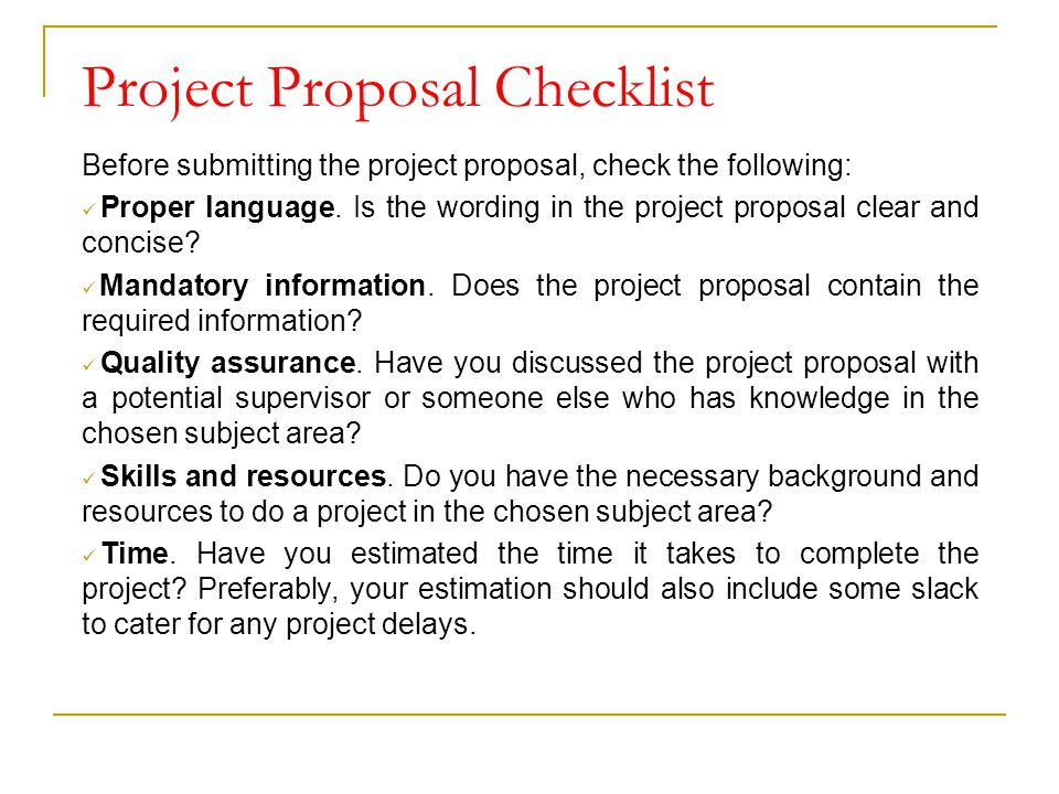 Project Proposal Checklist