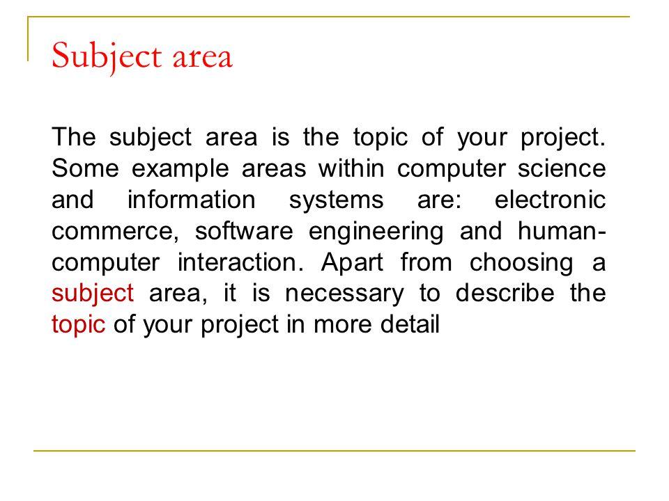 Subject area