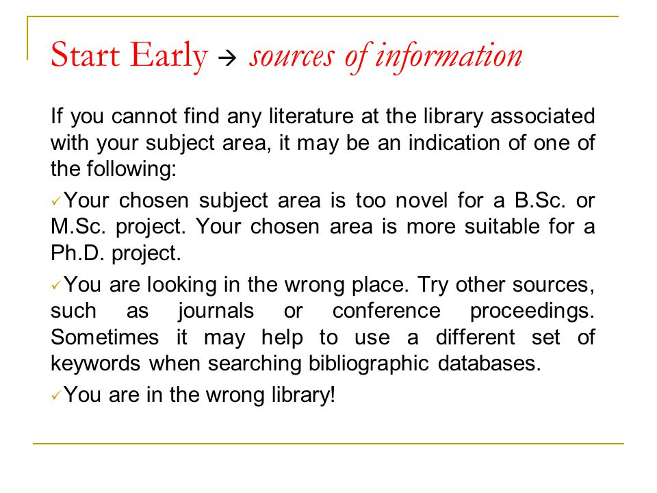 Start Early  sources of information