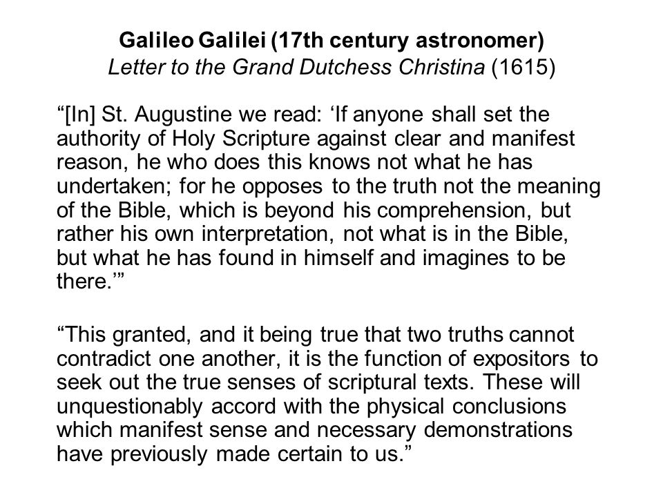 Galileo Galilei (17th century astronomer) Letter to the Grand Dutchess Christina (1615)