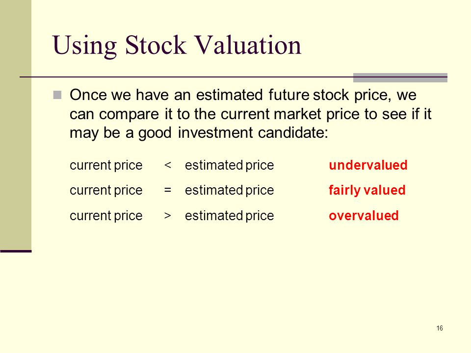 Using Stock Valuation