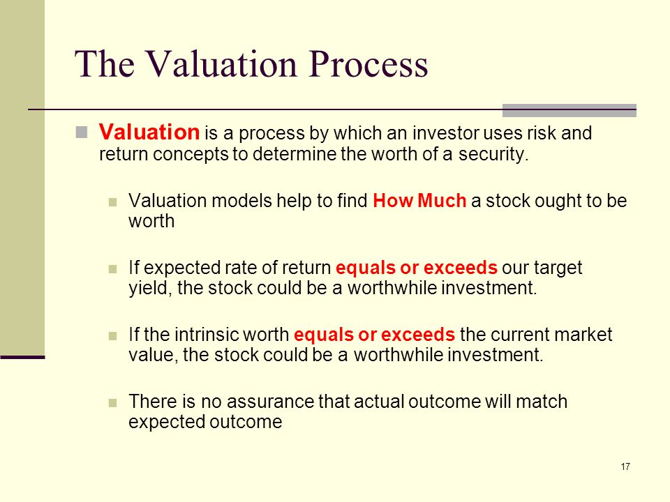 The Valuation Process Valuation is a process by which an investor uses risk and return concepts to determine the worth of a security.