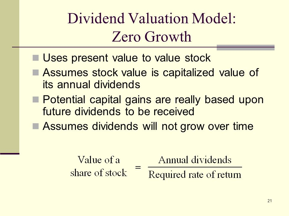Dividend Valuation Model: Zero Growth