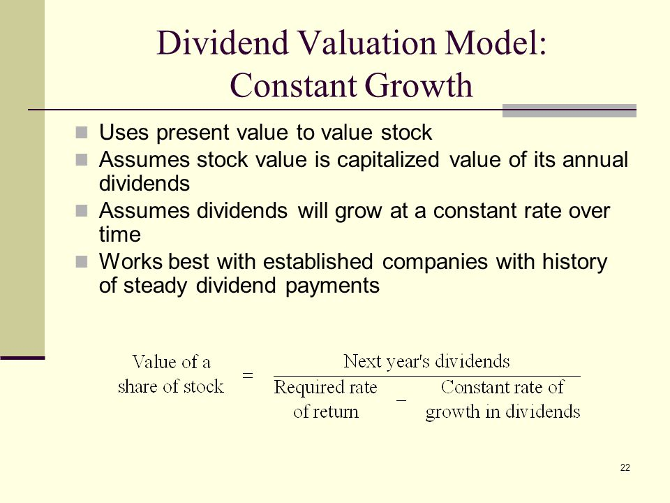 dividend valuation models disadvantage Cash flows: dividends vs free cash flows vs residual income so dividend based valuation may be most appropriate from their dividend disadvantages.