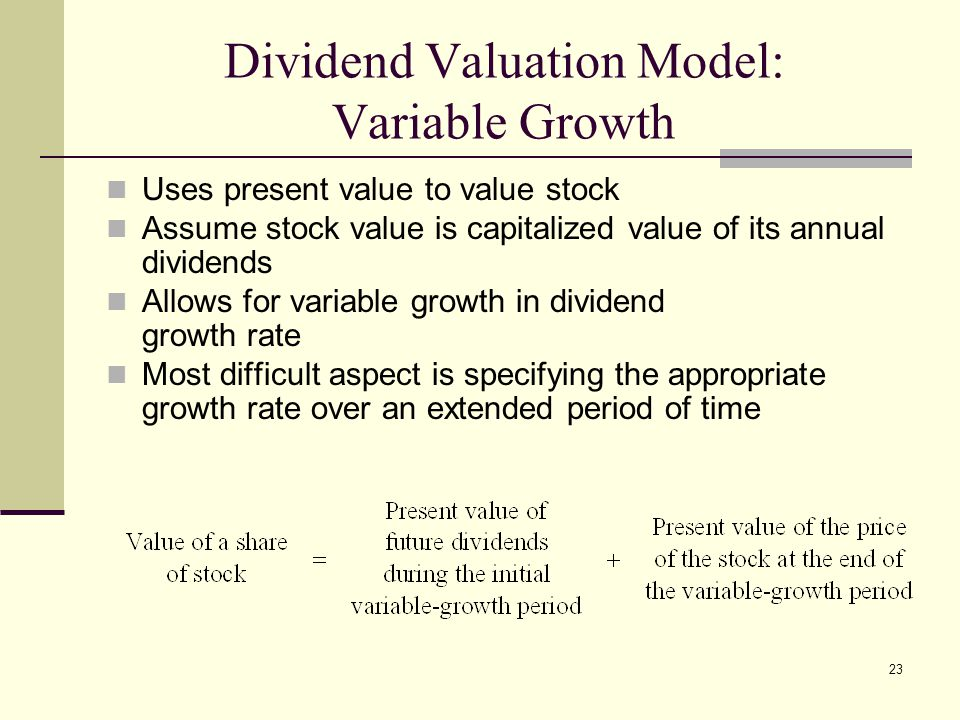 Dividend Valuation Model: Variable Growth