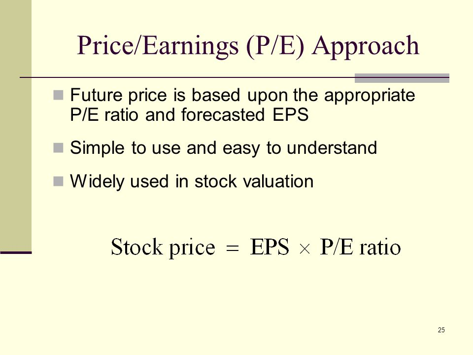 Price/Earnings (P/E) Approach