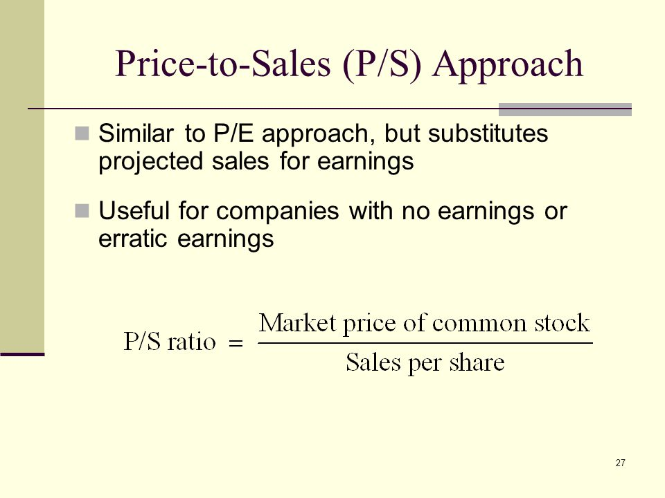 Price-to-Sales (P/S) Approach